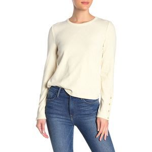 Madewell Crew Neck Button Cream Long Sleeve Shirt
